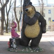 Located in St. Petersburg sculpture of favorite cartoon characters Masha and Bear