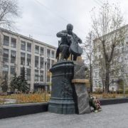 Monument to Rostropovich in Moscow in Bryusov Lane