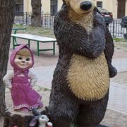 St. Petersburg sculptural composition of Masha and Bear