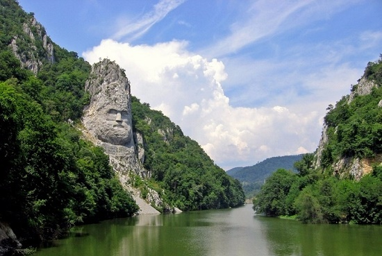 The last king of Dacians Decebalus carved from a monolitic rock