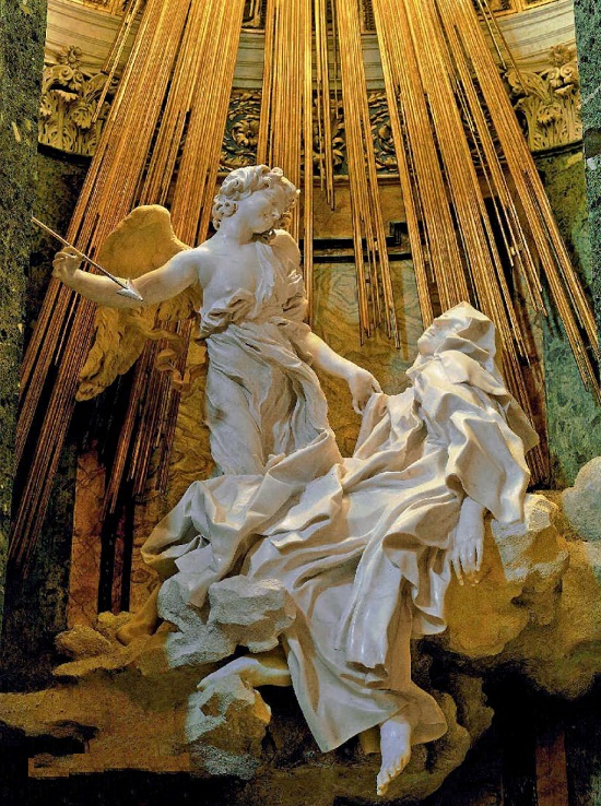 One of the best works of Italian sculptor Gian Lorenzo Bernini - the altar group of St. Theresa's Ecstasy in the church of Santa Maria della Vittoria. Rome, 1645-1652