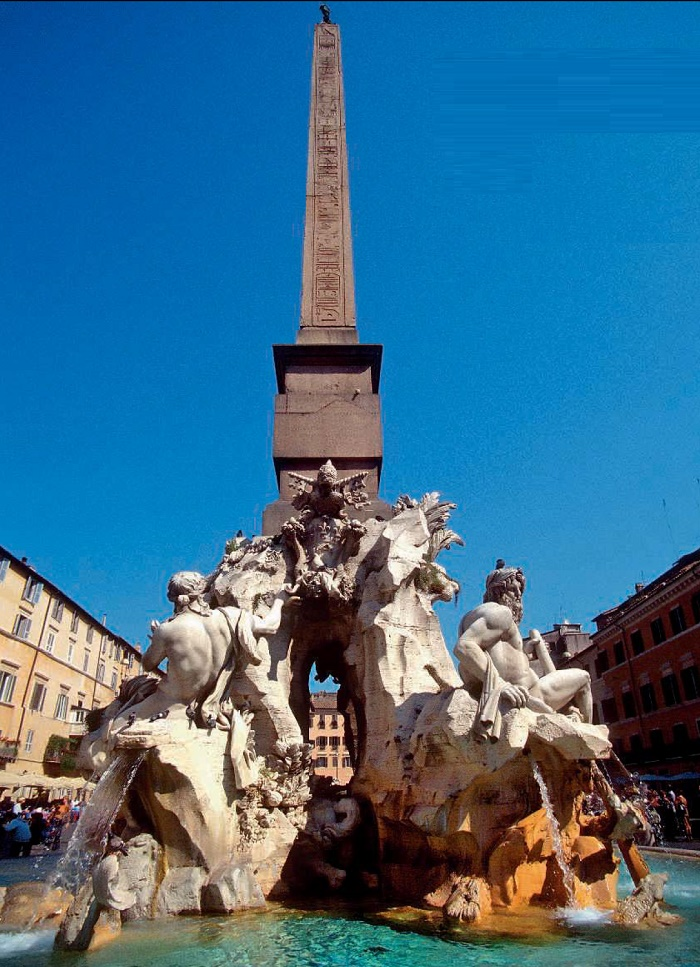 Seeing the model made by Lorenzo, Pope Innocent exclaimed - 'The fountain should be created by Bernini, and whoever does not like it, let him not look. Fountain of four rivers in Navona Square. Rome, 1648-1651
