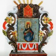 Feretrone (Procession Icon). 1807. Wood, carving, multi-coloured, silvering, painting - canvas, oil. Varanilavichy village Church, Pruzhany district, Brest region