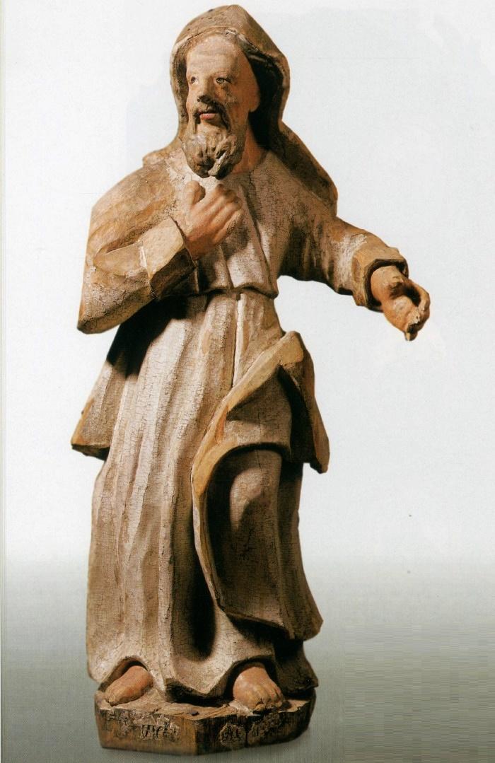 St. Joachim. Mid 18th c. Wood, carving, multi-colored. St. Nicolas' Church, Viarkhovichy, Kamianiets district, Brest region