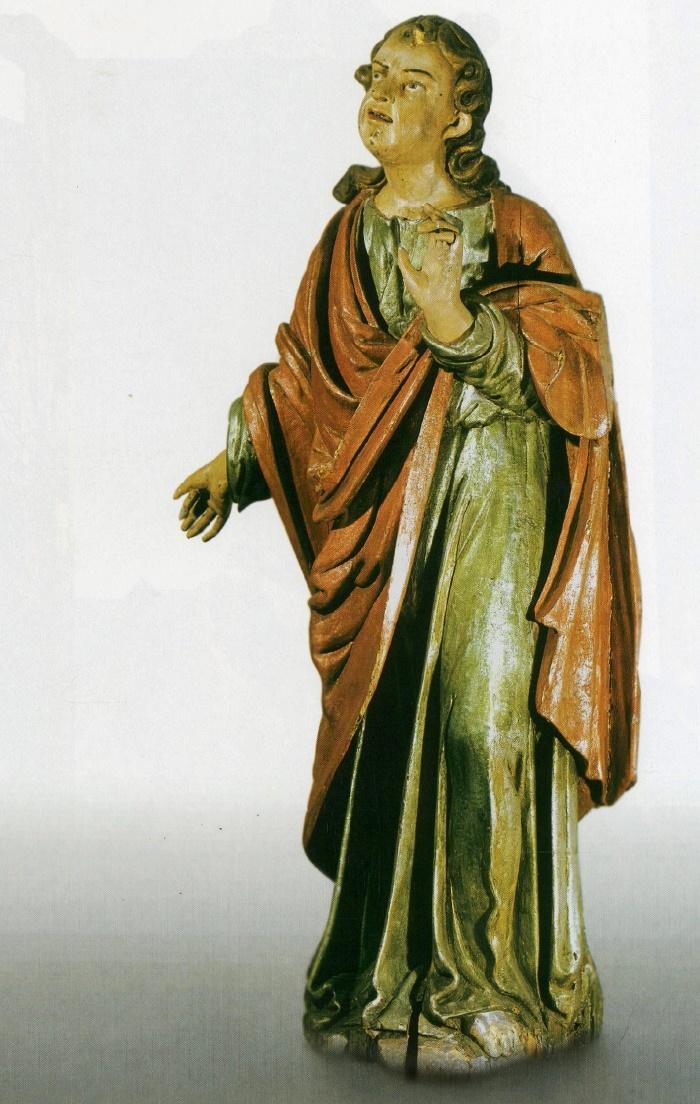 St. John. 1st half of the 17th c. Wood, carving, multi-coloured. John Baptist's Catholic Church, Mstsibava, Vaukavysk district, Grodna region