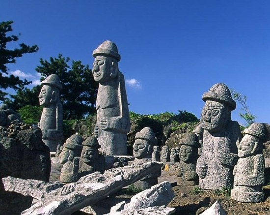Rock monuments known as Dol hareubangs. Cheju Do island stone grandfathers
