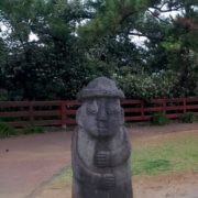 Typical rock sculpture of a dol hareubang on Jeju Island