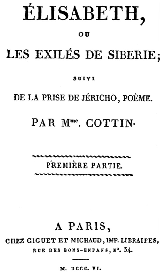 Elisabeth ou Les exiles de Siberie (1806)