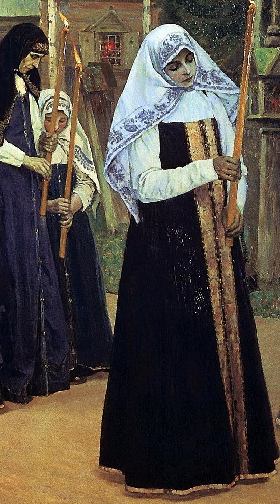 Fragment of 'Great tonsure' painting by Mikhail Nesterov