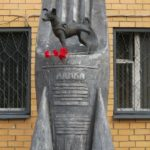 First launched into space dog Laika monument