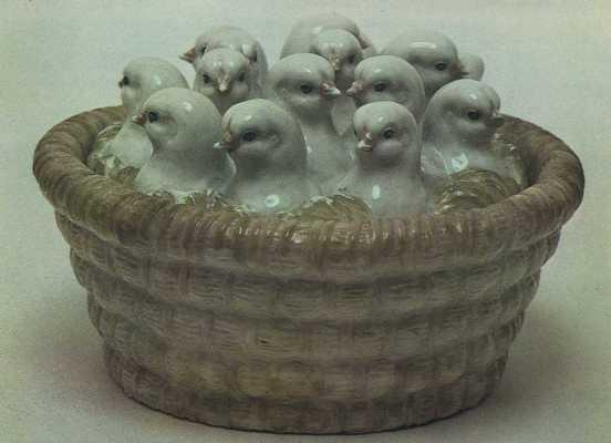 Basket with chickens. 1953