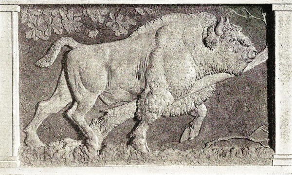 Bison, left part of the relief 'Forest Reserve' of 4 parts. 1957, terracotta