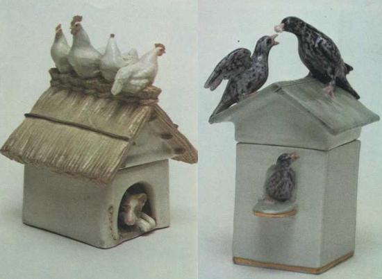 Box 'chicken on a doghouse'. 1953. Starlings. The first flight. 1948