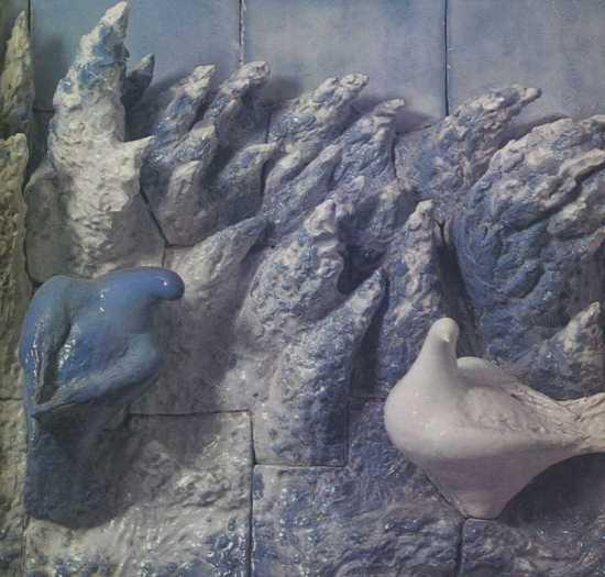 Doves, ragment of a large wall panno. 1937