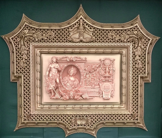 Stucco molding inspired by Russian Imperial banknotes