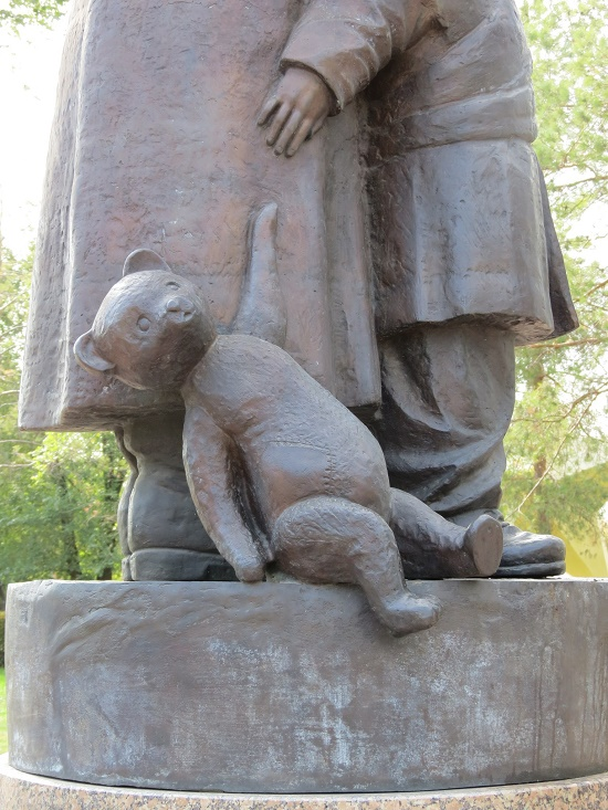 Detail of the monument, teddy bear toy